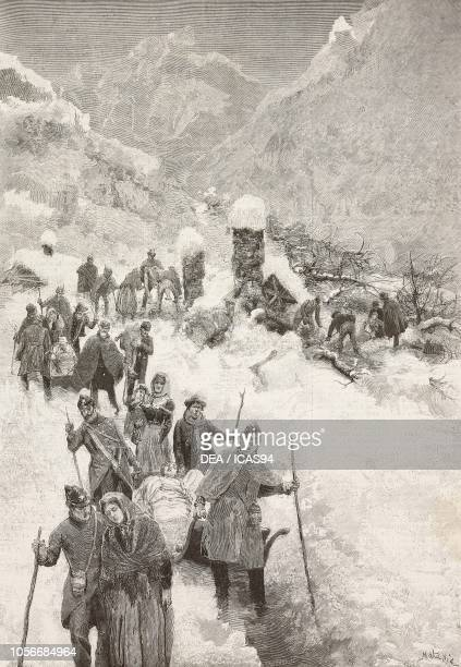 People being rescued and taken to a safe place after an avalanche Frassino Italy engraving by Cantagalli from a drawing by Edoardo Matania and a...