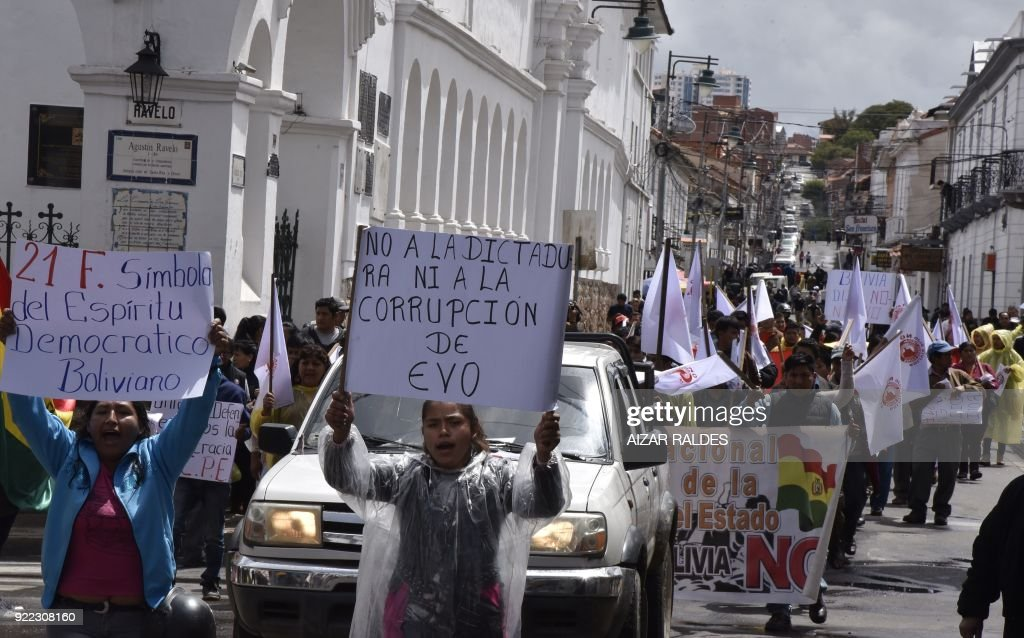 People block streets to protest against Bolivian President Evo Morales decision to seek 4th term on the anniversary of a referendum that earlier rejected his bid to run again, in Sucre, Bolivia on ...