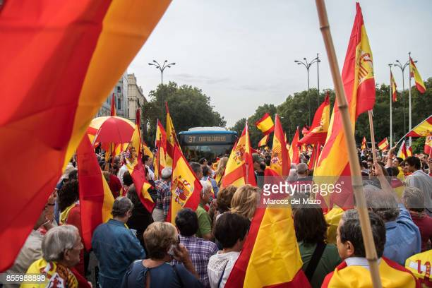 People blocking traffic protesting in front of the City Hall demanding the unity of Spain and against the possible referendum that will take in...