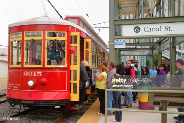 People boarding a tram at Canal Street stop