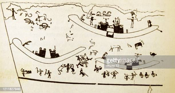 People, boats, and animals, copy of a wall painting, From Tomb 100 at Hierakonpolis, Egypt, Predynastic 3500-3200 BC.