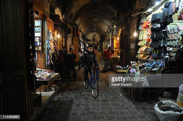 People browse inside the Aleppo Souk which is the largest covered market in the world with an approximate length of 13 kilometres on January 05 2011...