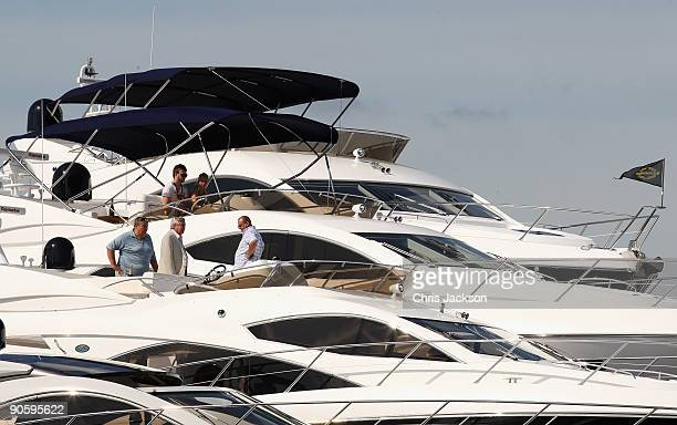 People browse Sunseeker boats on the first day of the PSP Southampton Boat Show in Mayflower Park on September 11 2009 in Southampton England The...