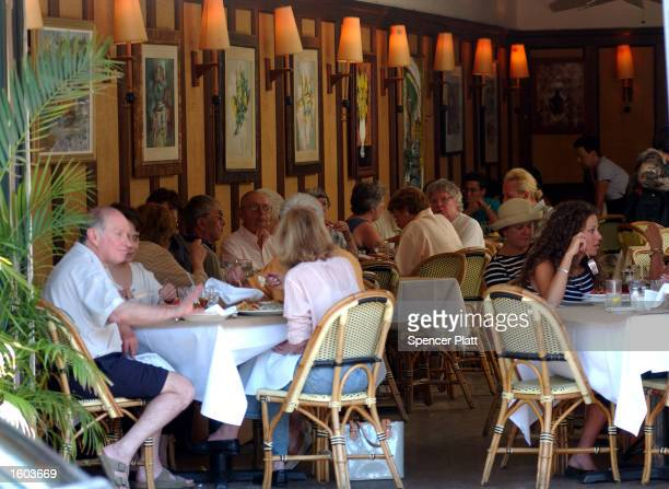 People brunch at one of the many exclusive restaurants July 21, 2001 in Bridgehampton, NY. The Hamptons, located at the east end of New York''s Long...