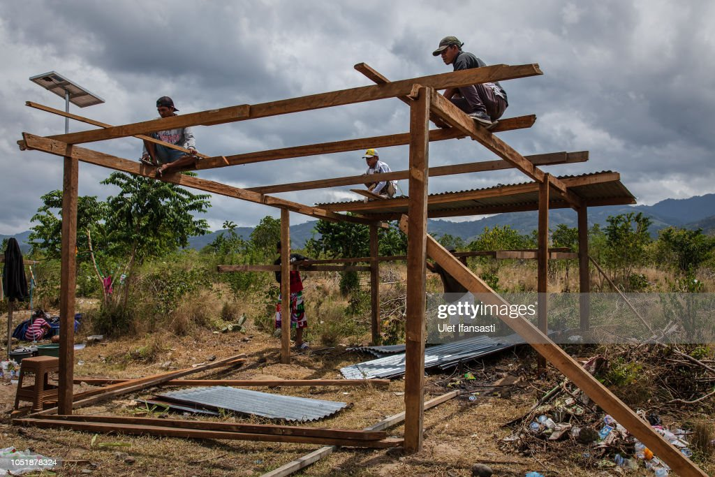 People build a temporary house as a shelter following the
