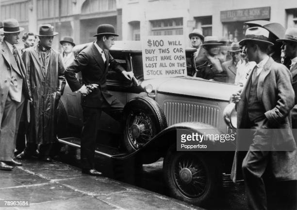 1929 New York USA The Depression in America Following the stock market crash this smart car is being sold for only $100