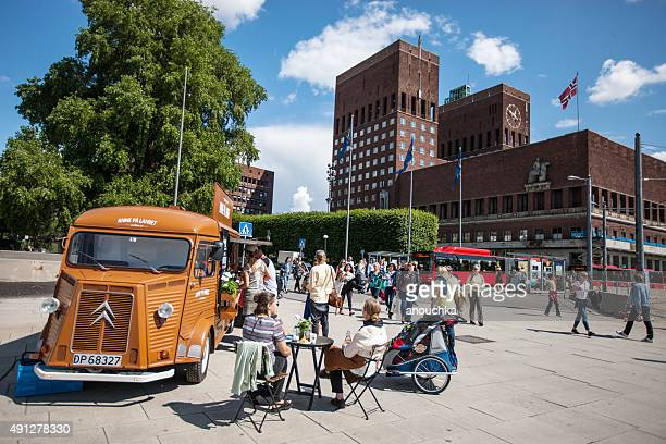 People buying snacks in a Small mobile cafe, Oslo