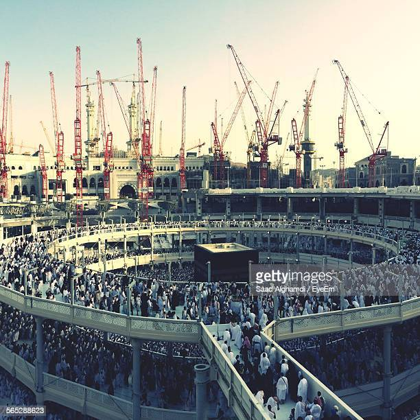 People By Cranes At Masjid Al-Haram