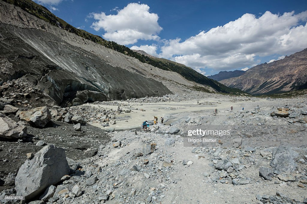 People by the glacier Morteratsch : Stock Photo