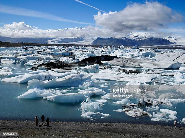 people by vatnajokul ice cap, iceland - breidamerkurjokull glacier stock photos and pictures
