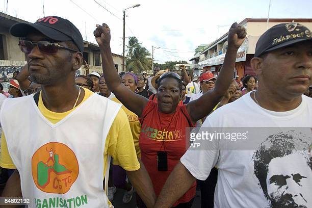 People called by LKP demonstrate on February 14 2009 in Le Moule Guadeloupe where four workers were killed in 1952 during a protest to ask for pay...