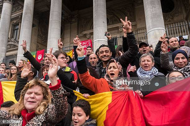 People came for a tribute to victims in front of Brussels Bourse Beurs after today's terrorist attacks Tuesday 22 March 2016 This morning two bombs...