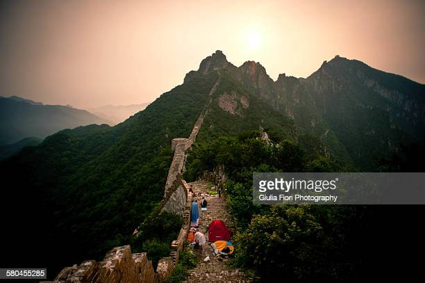 People camping on the Great Wall of China