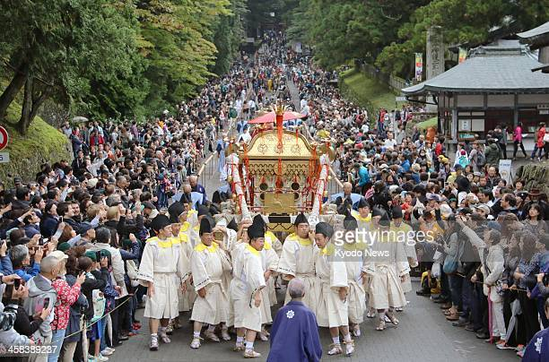 People carry a portable shrine during a biannual procession at Nikko Toshogu Shrine in Tochigi Prefecture on Oct 17 2016 The procession is a revival...