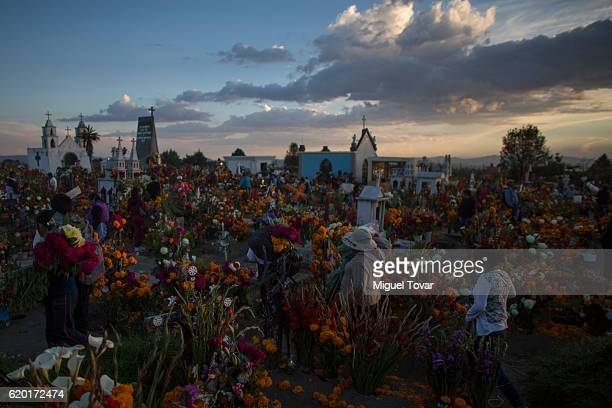 People carry cempasuchil flowers as they arrive at the local cemetery during during the Day of the Dead celebration known in spanish as Dia de los...