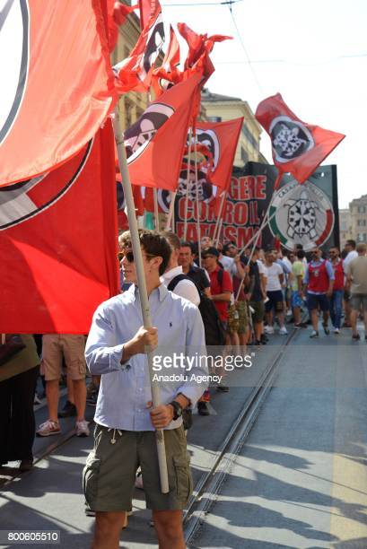 People carry flags during a protest against the law on Jus Soli which would give birthright citizenships to children born to refugees living in Italy...