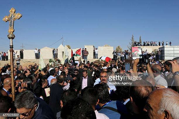 People carry the coffin of Tariq Aziz during his funeral in Amman Jordan on June 13 2015 Tariq Aziz former deputy prime minister and foreign minister...