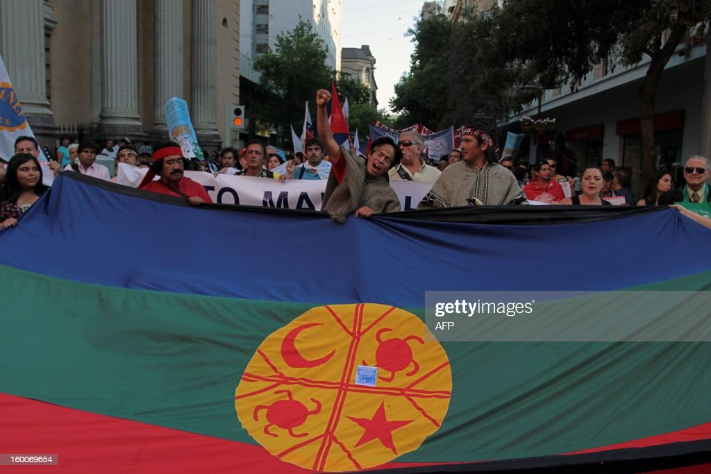 People carry the flag of the Mapuche ethnic group as they participate in a march of the Peoples' Summit 'for Social Justice, International Solidarity and in Defence of the Commons', held in the sidelines of the weekend's CELAC-EU Summit, in downtown Santiago on January 25, 2013. More than 40 Heads of State and Government of the Community of Latin American and Caribbean States (CELAC) and the European Union (EU) will meet on January 26 and 27 to promote a strategic partnership between the two regions.