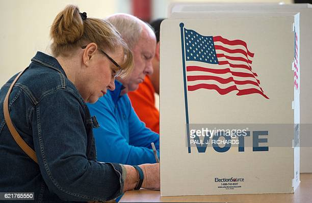 TOPSHOT People cast their votes for US president November 8 at Centerville High School in Centreville Virginia Polling stations opened Tuesday as the...