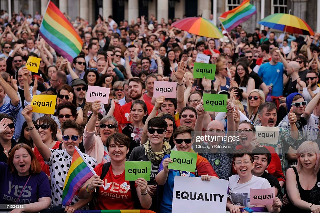 People celebrate a landslide victory of a Yes vote after a referendum on same sex marriage was won by popular ballot vote by a margin of around two-to-one at Dublin Castle on May 23, 2015 in Dublin, Ireland. Voters in the Republic of Ireland chose in favour of amending the country's constitution to allow gay and lesbian couples to marry, the first country in the world to legalise same-sex marriage through a popular vote.