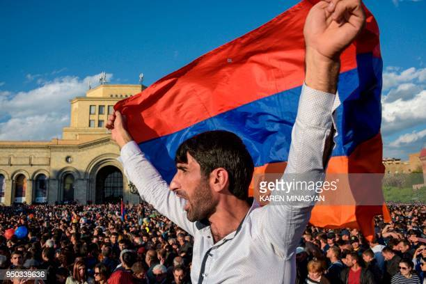 People celebrate Armenian prime minister Serzh Sarkisian's resignation in downtown Yerevan on April 23 2018 Armenia's veteran leader Serzh Sarkisian...