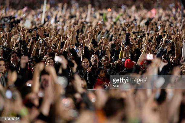 People celebrate as election results are announced in favor of Democratic canidate Barack Obama in Grant Park Chicago Illinois November 4 where...