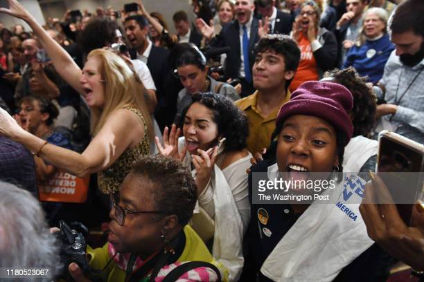 People celebrate at a Democratic election watch party at Hilton Richmond Downtown on Tuesday November 05 2019 in Richmond VA There were key races in...