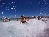 sydney australia people celebrate christmas surf