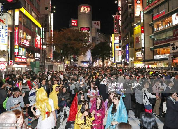 People celebrate Halloween in Tokyo's Shibuya district on Oct 31 2017 ==Kyodo