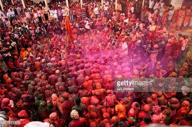 People Celebrate Holi at Nandgaon, India