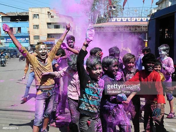People celebrate Holi festival at Peer Gate on March 6 2015 in Bhopal India Festival of colors fun and frolic Holi bridges the social gap and renew...