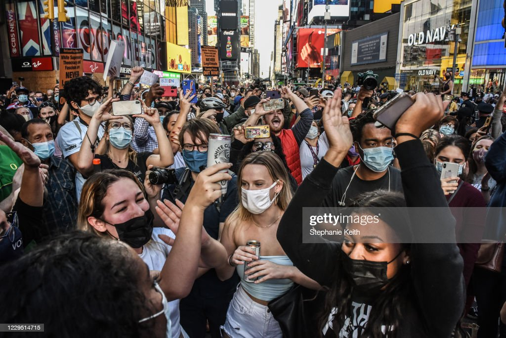 Supporters Of Joe Biden Celebrate Across The Country, After Major Networks Project Him Winning The Presidency : News Photo
