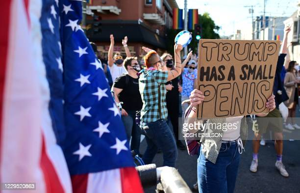 People celebrate Joe Biden being elected President of the United States in the Castro district of San Francisco California on November 7 2020...