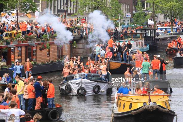 People Celebrate King´s Day in Amsterdam
