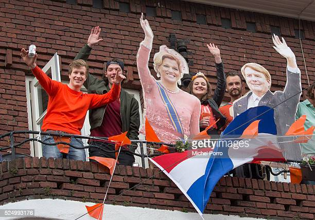 People celebrate on King's Day on April 27, 2016 in Zwolle, Netherlands.