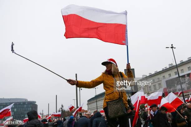 People celebrate the 100th anniversary of Poland regaining independence. Krakow, Poland on 11 November, 2018. On 11th November Poland regained its...