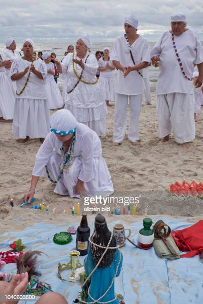 People celebrate the feast of Iemanja, the goddess of the waters in the African tradition.Montevideo,Uruguay