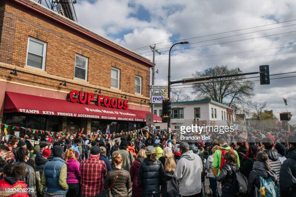 People celebrate the guilty verdict in the Derek Chauvin trial at the intersection of 38th Street and Chicago Avenue on April 20, 2021 in...