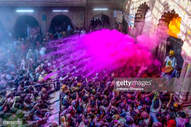 People celebrate the Holi festival and receive rose color powder at the Banke Bihari Temple on March 20 2019 in Vrindavan India