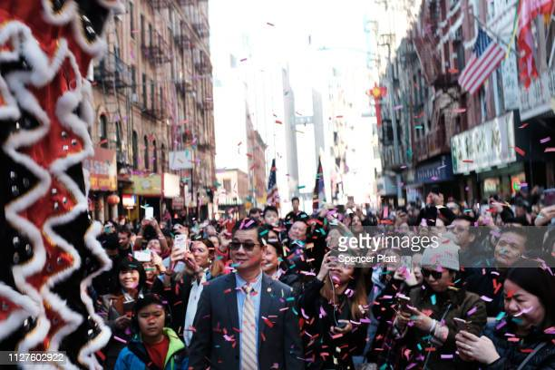 People celebrate the Lunar New Year in Chinatown on February 05 2019 in New York City Thousands of members of the Chinese American community tourists...