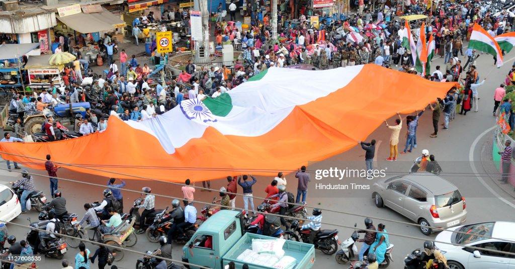 Indians Celebrate Airstrike On JeM Terror Camp At Balakot : News Photo