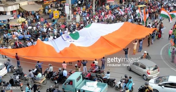 People celebrate the reports of IAF air strikes across LoC on February 26 2019 in Ranchi India Indian forces carried out a strike at the biggest camp...