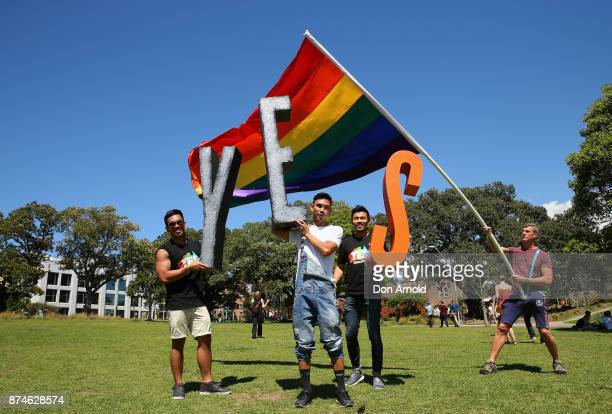 People celebrate the result announcement on November 15 2017 in Sydney Australia Australians have voted for marriage laws to be changed to allow...