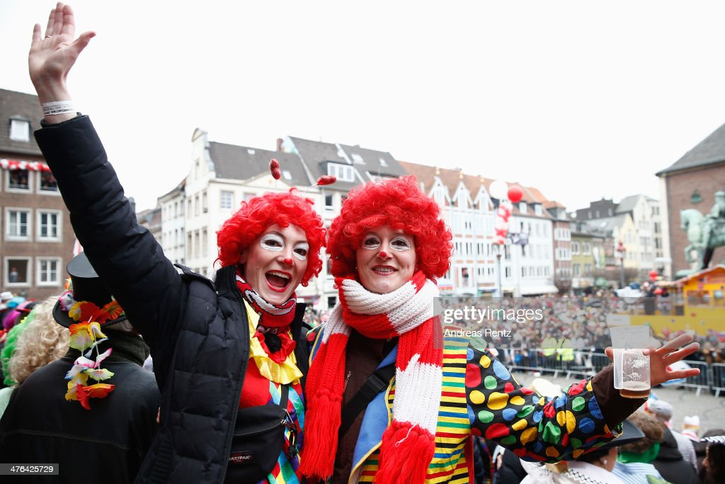People celebrate the traditional Rose Monday parade on March 3, 2014 in Duesseldorf, Germany. Rose Monday is the highpoint of the annual carnival season in the region between Dusseldorf, Cologne and Mainz where the carnival has been an annual tradition since 1823 and celebrates free-spirited merrymaking before the beginning of Lent.