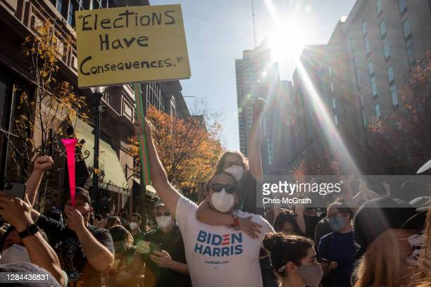 People celebrateoutside the Philadelphia Convention Center after Joe Biden was declared winner of the 2020 presidential election on November 07,...