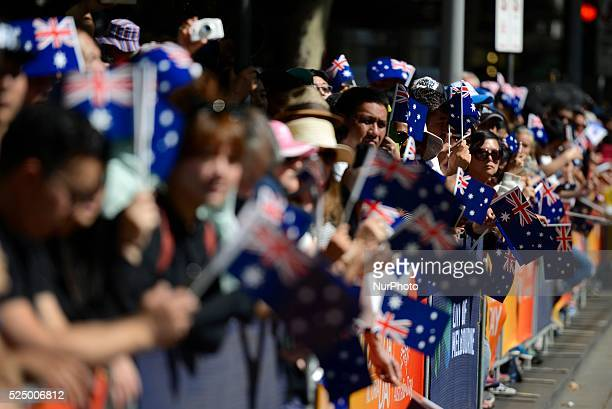 People celebrates the Australia Day in Melbourne on January 26 2016 Australia Day is the anniversary of the arrival and landing of the First Fleet of...