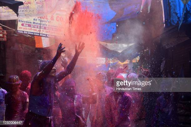 People celebrating Holi without COVID-19 safety protocols at Burrabazar on March 29, 2021 in Kolkata, India.