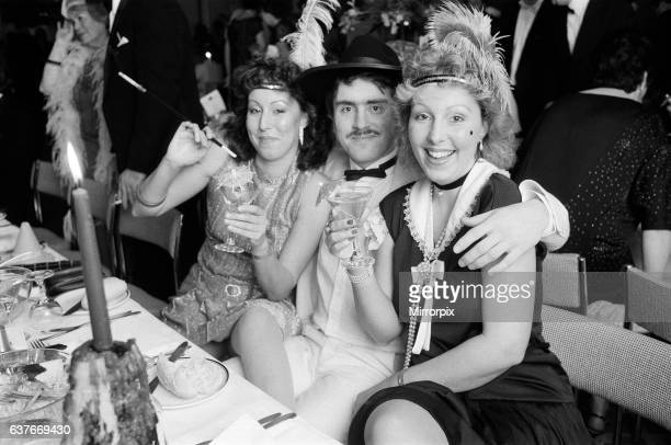 People celebrating New Years Eve at a 'Roaring Twenties' party Albany Birmingham 31st December 1984