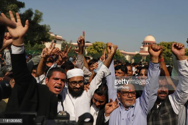 People celebrating outside supreme court of India after the Babri Mosque verdict in New Delhi India on 09 November 2019