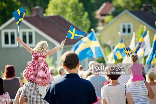 People celebrating sweden's national day